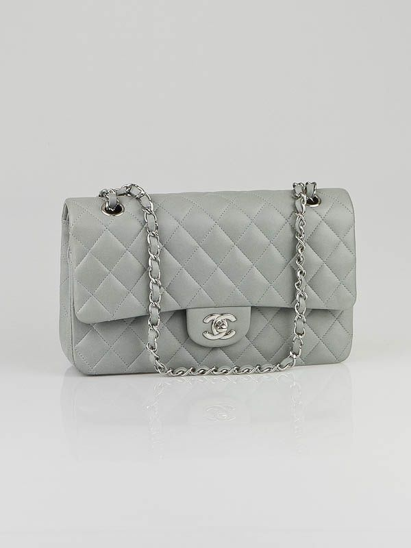 Chanel Light Grey Quilted Lambskin Leather Medium Classic Double Flap Bag Chanel Classic Flap Lambskin Used Chanel Bags Chanel
