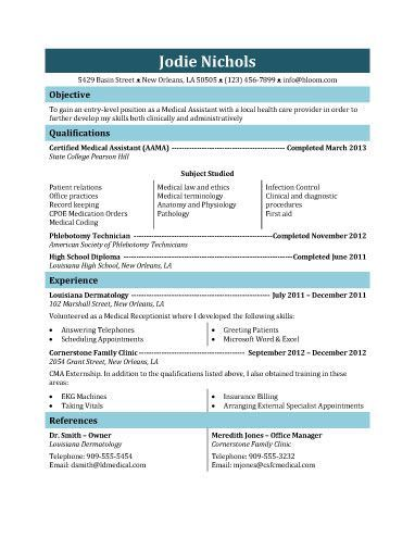 Sample Resume For Medical Assistant This Resume Can Be Used For A Student Medical Assistant Who Has Not .