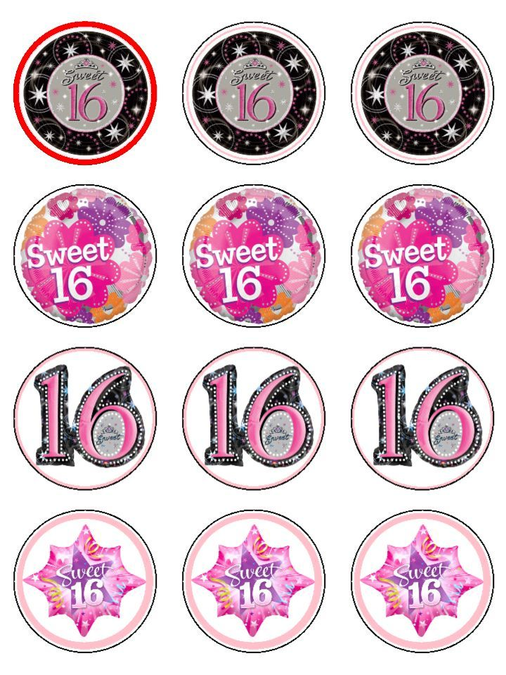 Sweet 16 Birthday X12 Edible Cupcake Toppers D70 12 Icing cakepins