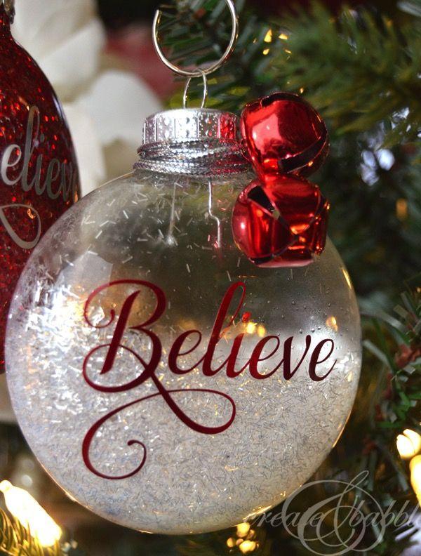 13 Handmade Christmas Ornaments Using Vinyl Clear Christmas Ornaments Handmade Christmas Ornaments Christmas Ornaments Homemade