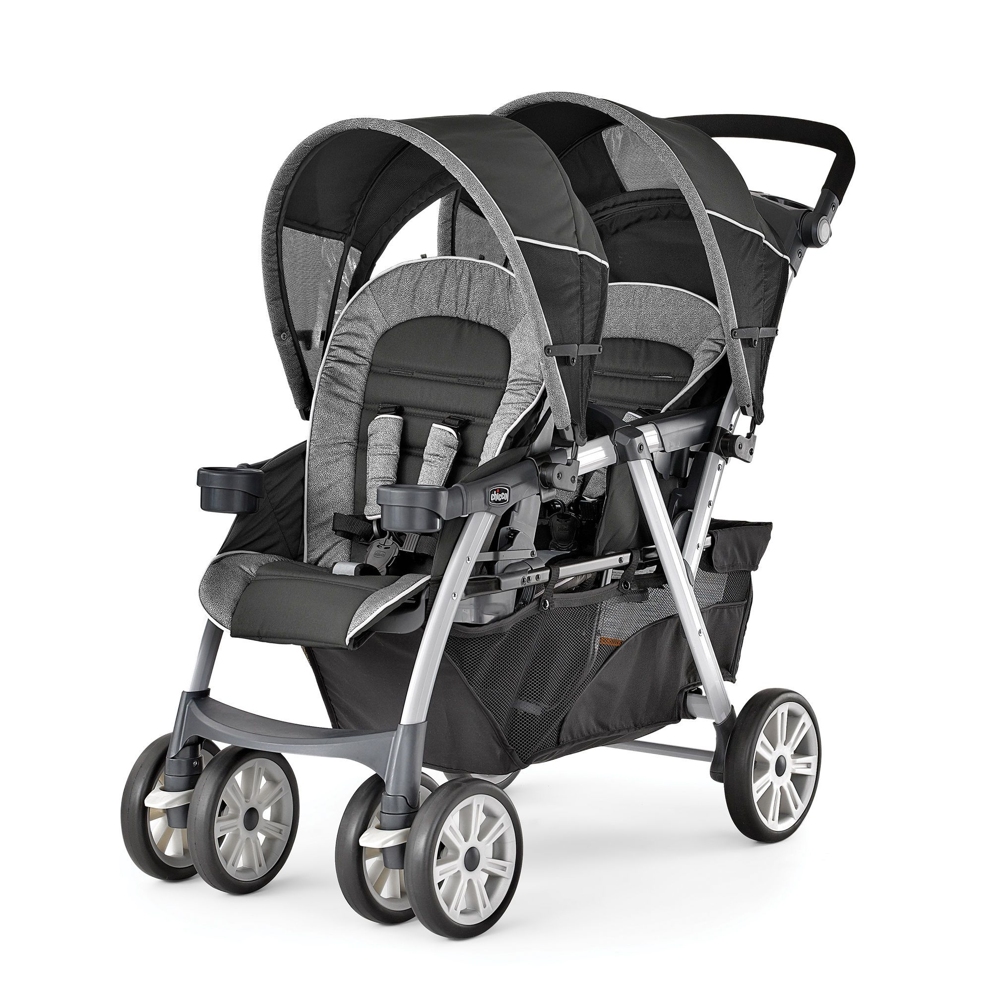 Chicco Cortina Together Double Stroller In Black Gray And Silver
