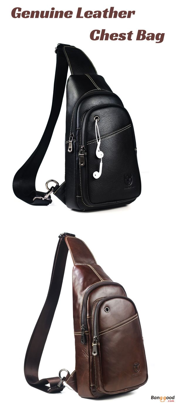 Men/'s Sling Bag Genuine Leather Chest Front Crossbody Shoulder Pack Casual Bags