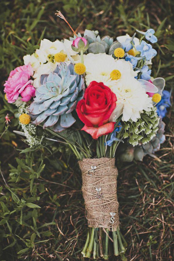 multicolored bouquet // photo by Briana Purser // http://ruffledblog.com/sixties-inspired-texas-wedding