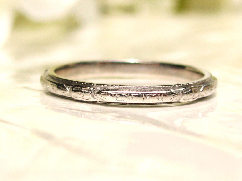 Antique Platinum Wedding Band Ladies Antique Wedding Ring