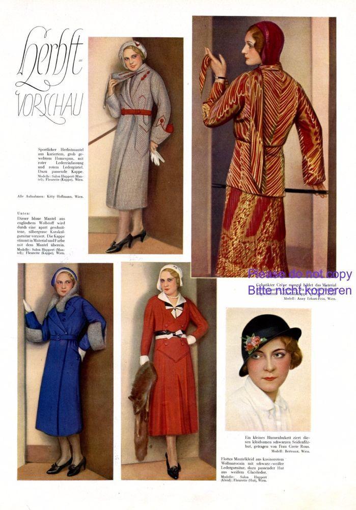 Herbstmode 30er Jahre Xl Seite 1931 Mode Kleid Hut Modenschau