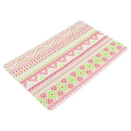 #personalize - #Coral Red Pink Lime Green Aztec Zigzag Pattern Floor Mat