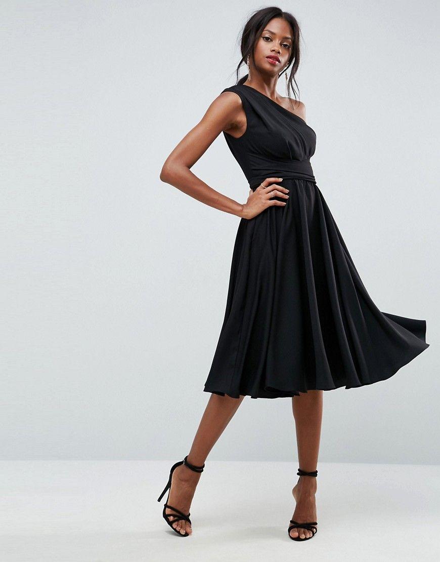 Asos One Shoulder Tie Waist Midi Prom Dress Black Dresses Black Prom Dresses Womens Dresses [ 1110 x 870 Pixel ]