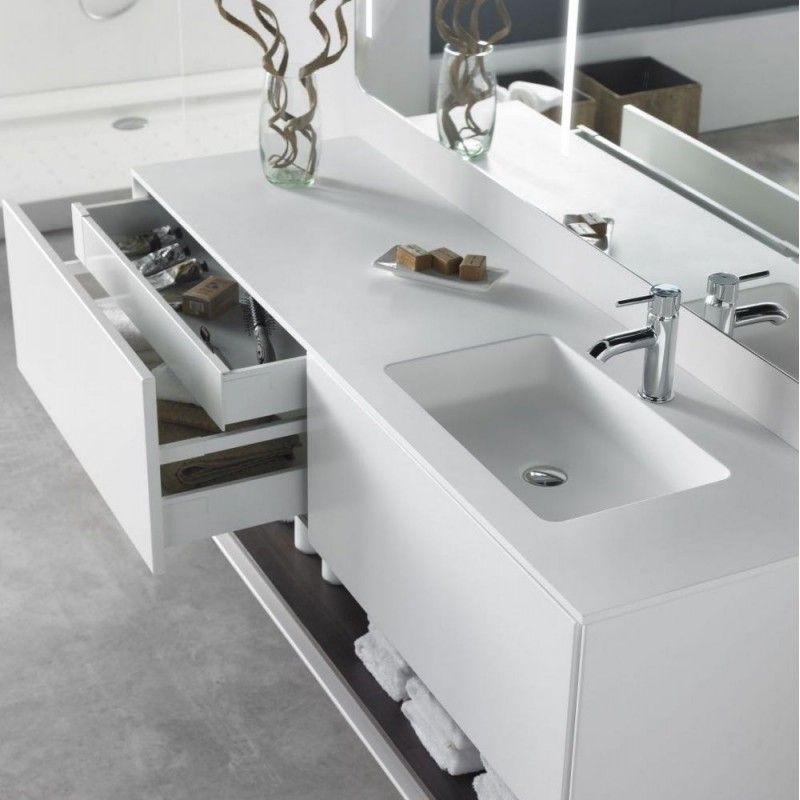 Waschtisch aus Corian mit waschuntertisch Badezimmer Pinterest - badezimmer doppelwaschbecken