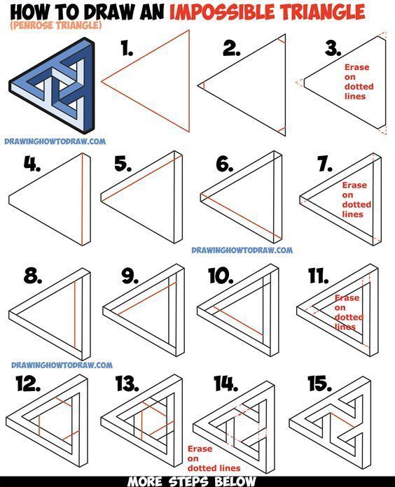 Photo of How do you draw an impossible triangle (Penrose Triangle) that looks Celtic woven? Ea …