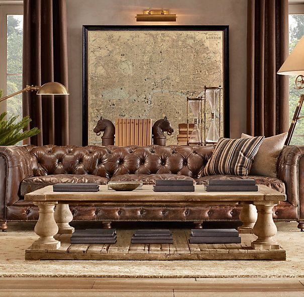 Balustrade Salvaged Wood Coffee Table Leather Living Room