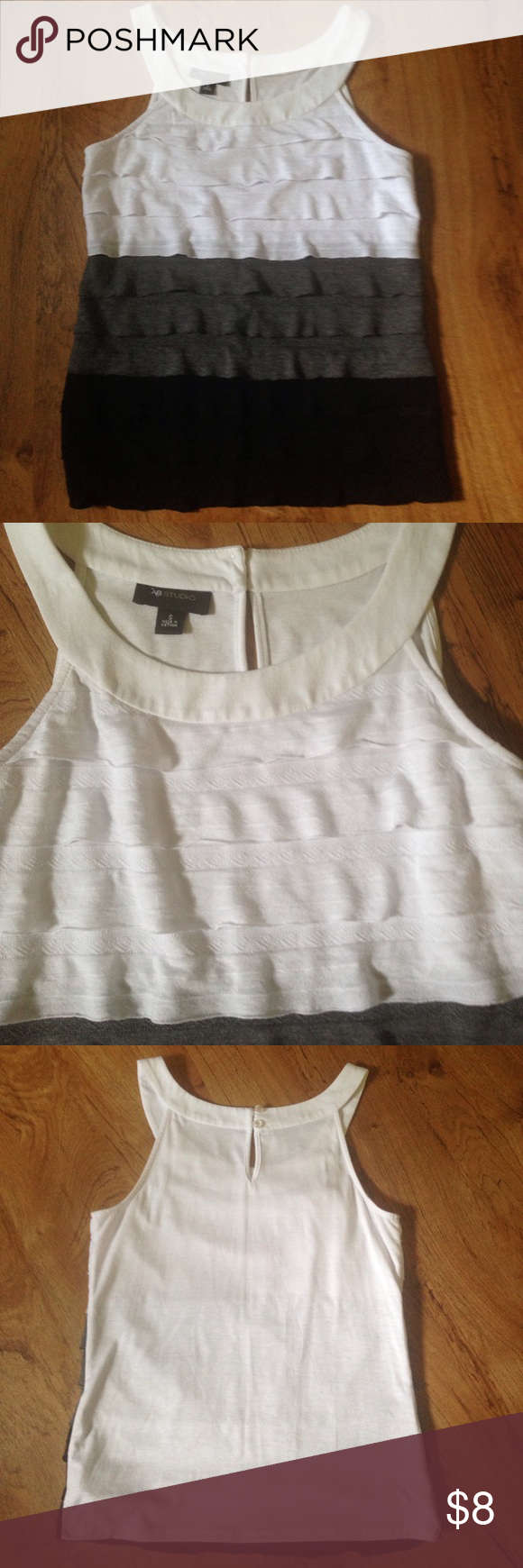 AB Studio Layered Tank You will love the fit of this classic layered tank! White, gray, and black! Gently worn, excellent condition! AB Studio Tops Tank Tops