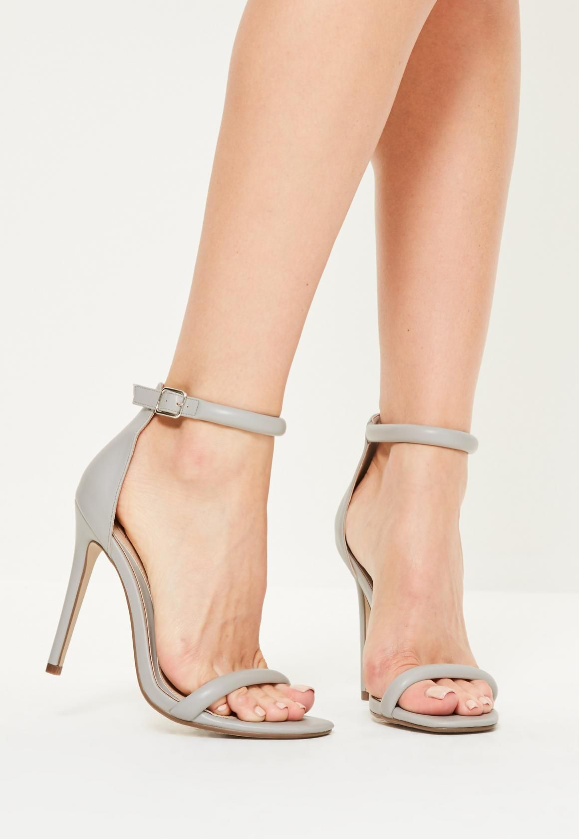 Grey Rounded Strap Barely There Heels | Missguided, Gray and Shopping