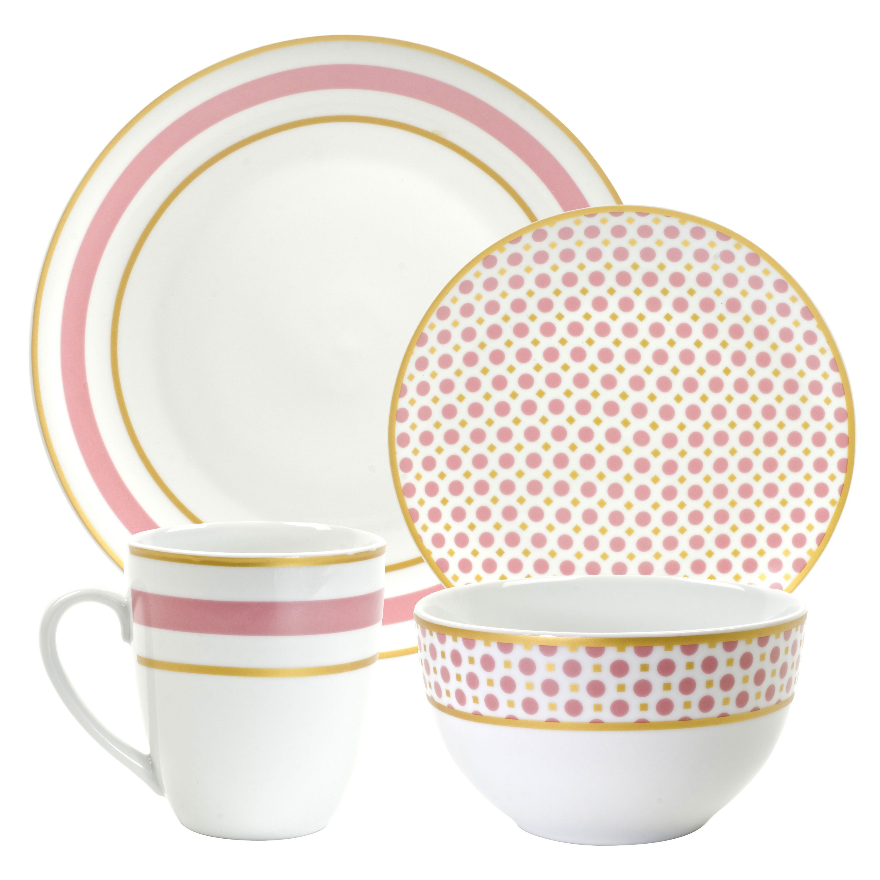 This dinner set offers service for four with a whimsical design. It includes four each dinner plates bowls salad plates and mugs.  sc 1 st  Pinterest & This 16-piece dinner set offers service for four with a whimsical ...