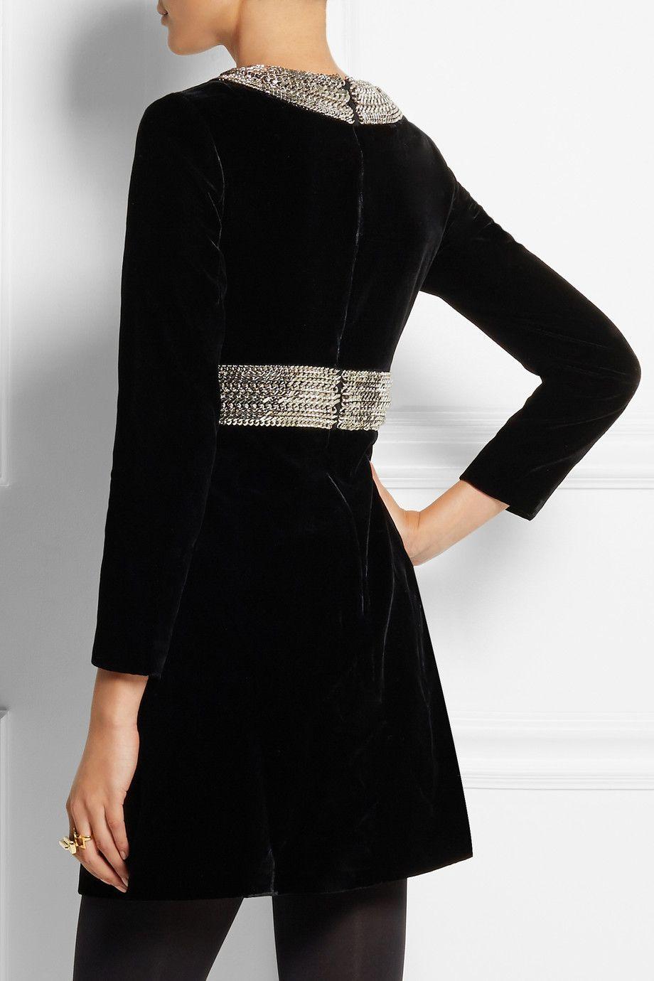 Saint laurent chainembellished velvet mini dress netaporter