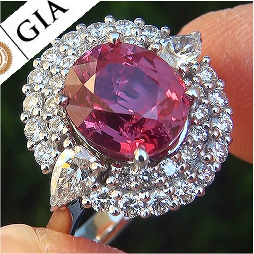 Gia ct unheated vs padparadscha sapphire diamond k vintage