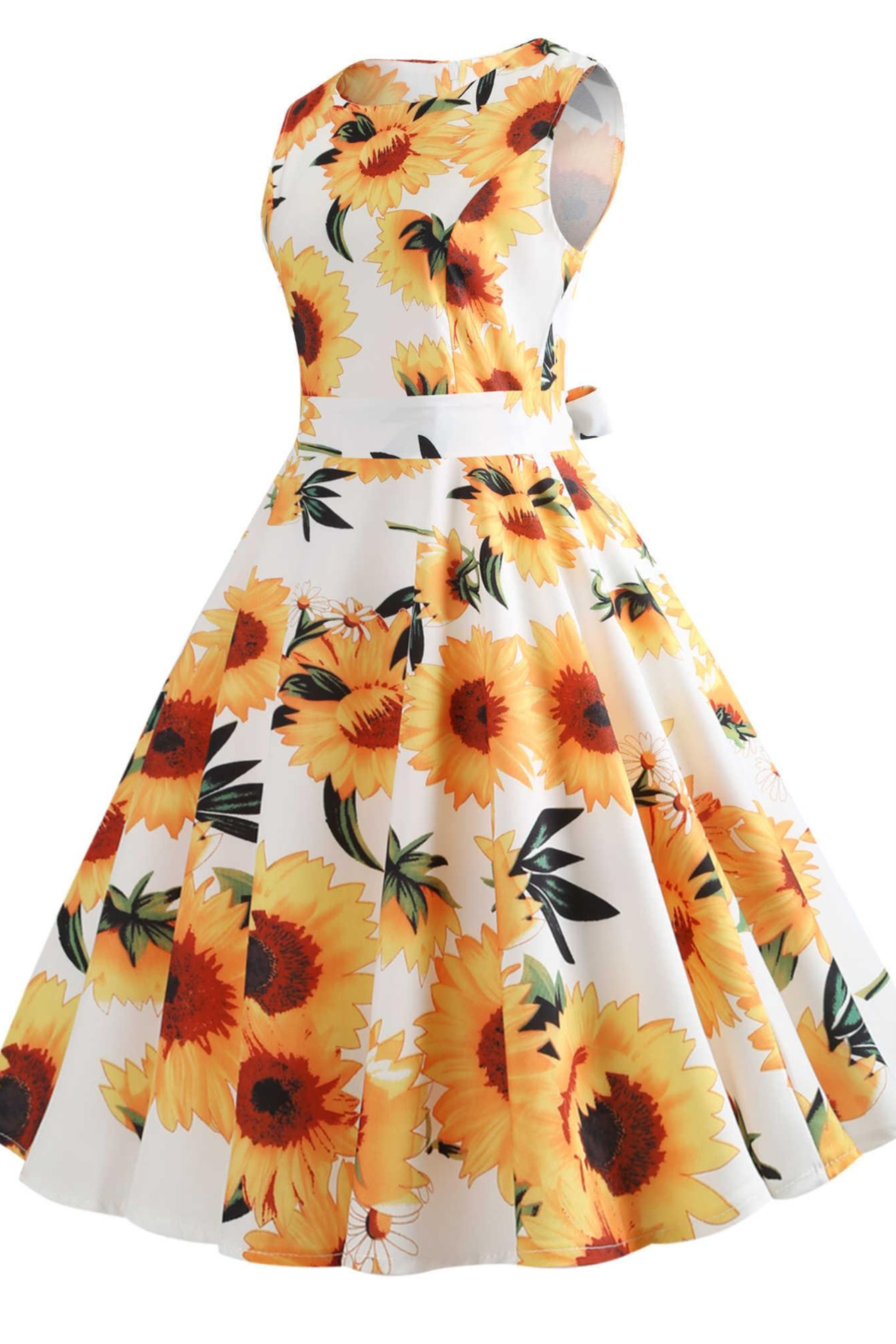 1950s Floral Yellow And White Dress Dresses Sunflower Dress White Dresses For Women [ 3000 x 2000 Pixel ]
