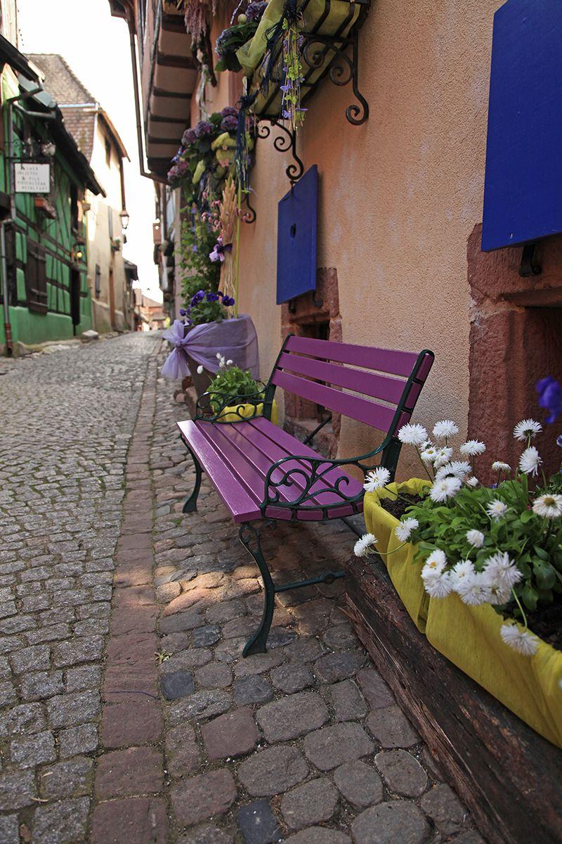 The Bench And The Flowers Riquehihr Alsace France By Alain Corriveau Les Regions De France Facade Maison Banc Public