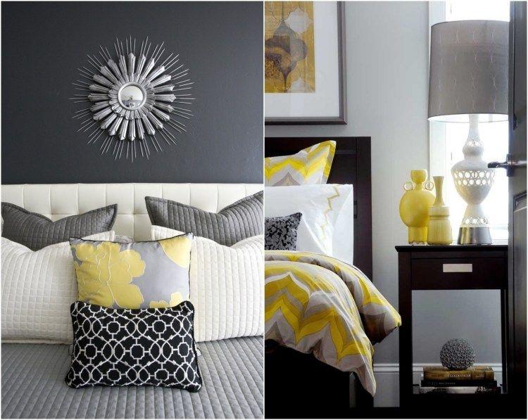 grau mit gelb und wei im schlafzimmer kombinieren color. Black Bedroom Furniture Sets. Home Design Ideas