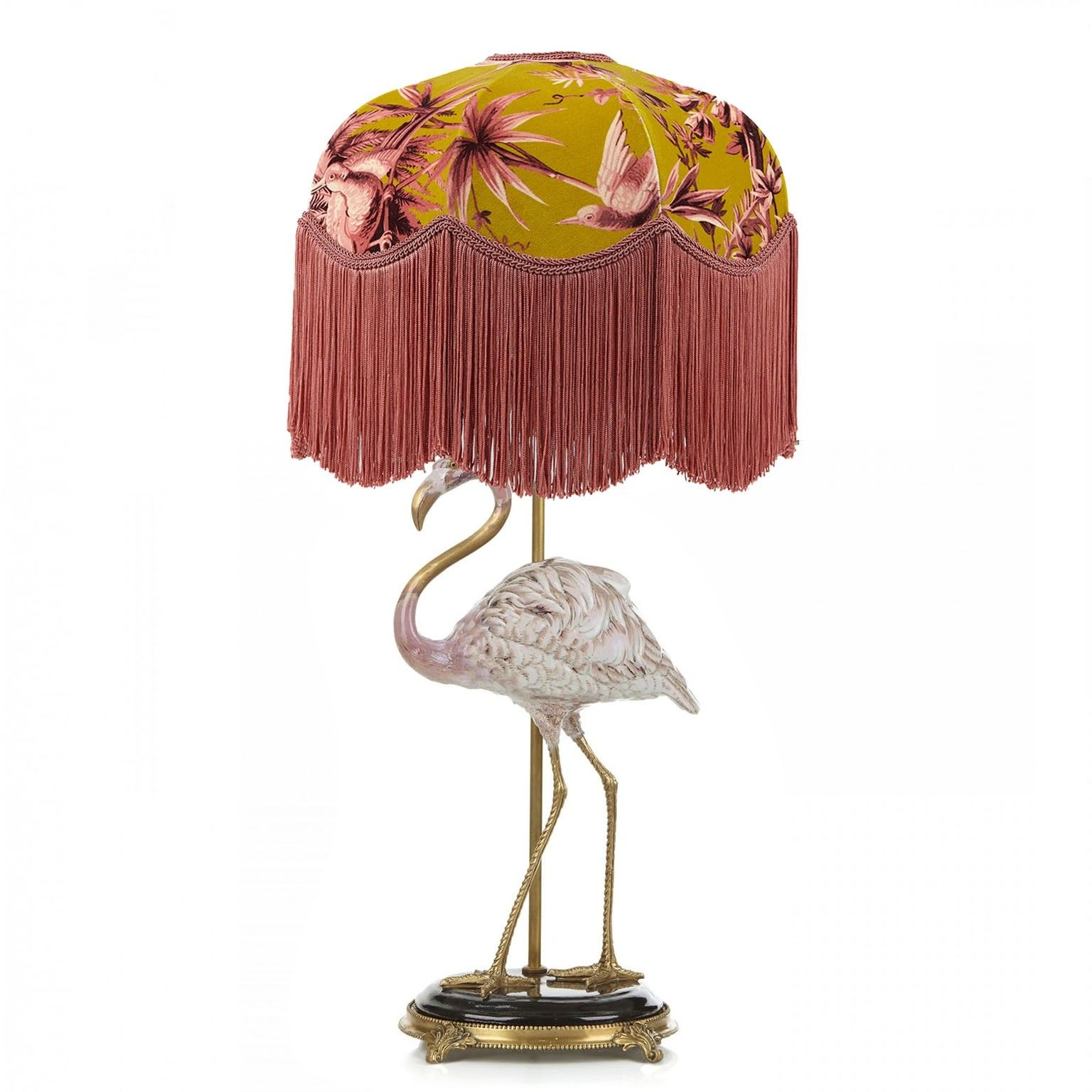 Aurora Tilia Chartreuse Lampshade With Flamingo Lampstand Home Accessories Boho Eclectic Decor Lamp Mason Jar Chandelier Diy