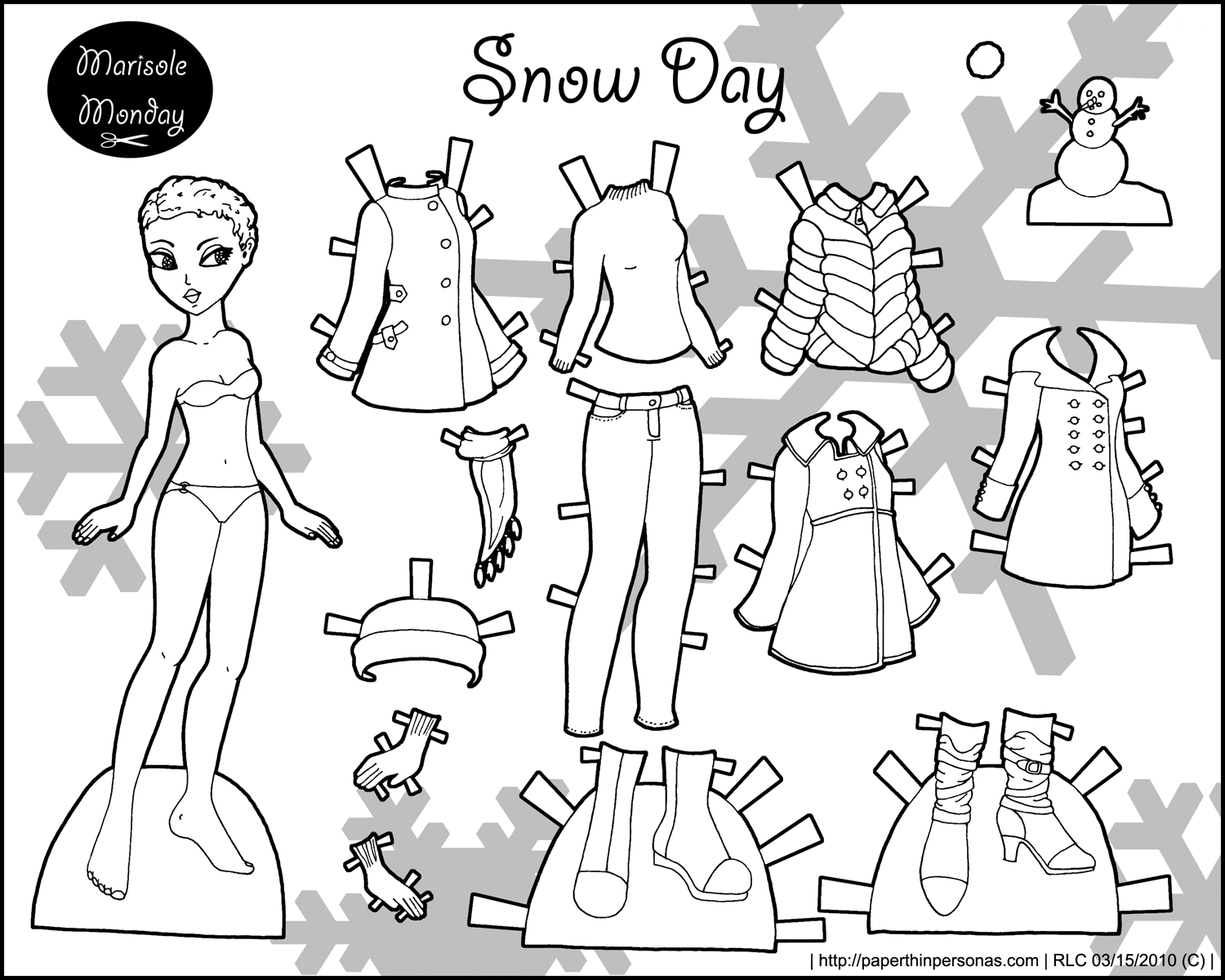 picture about Free Printable Paper Dolls Black and White called Totally free Printable Paper Dolls In direction of Shade shannon paper dolls