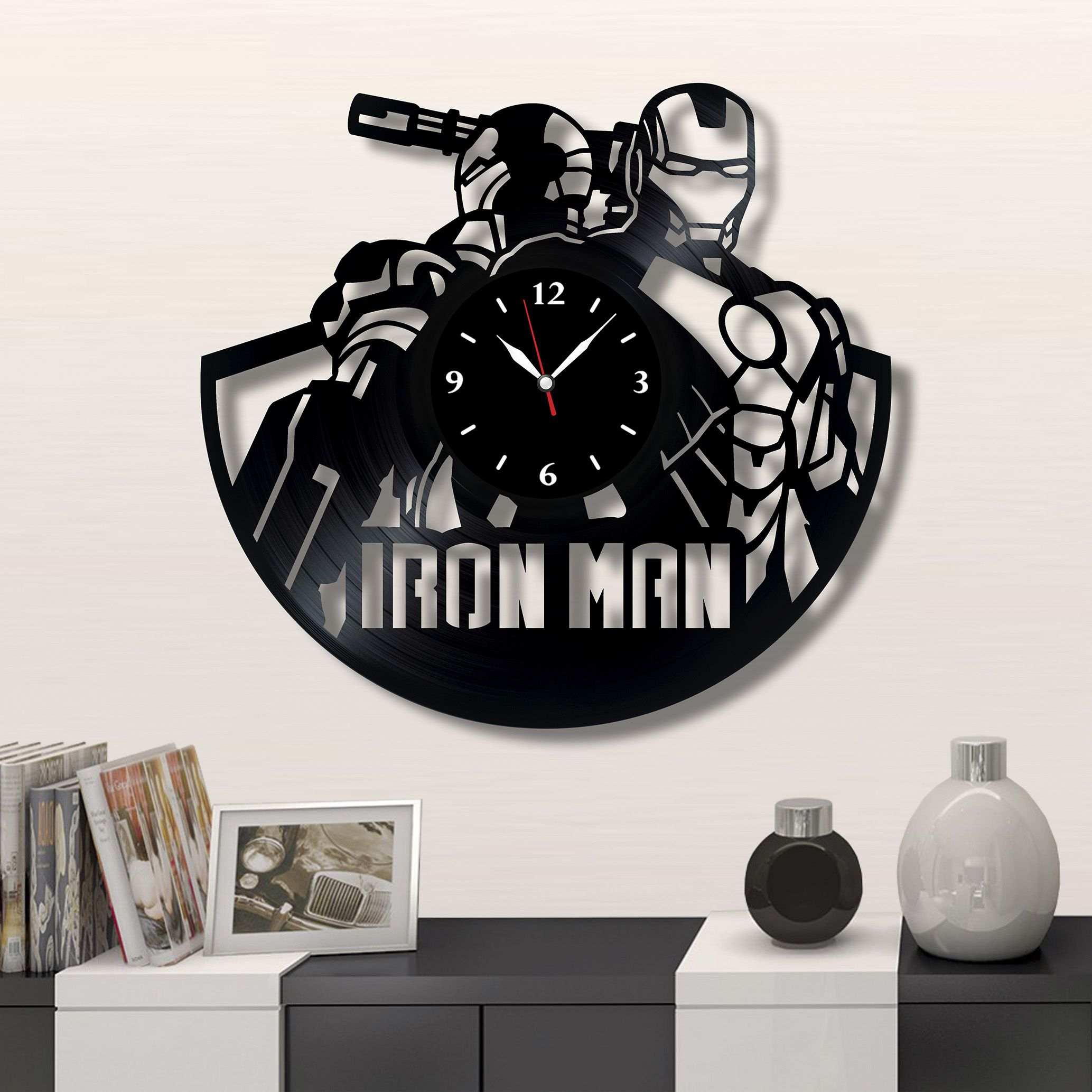 Iron Man Vinyl Record Clock, Wall Clock Avengers, Marvel Comics, Best Gift  For Home Decor