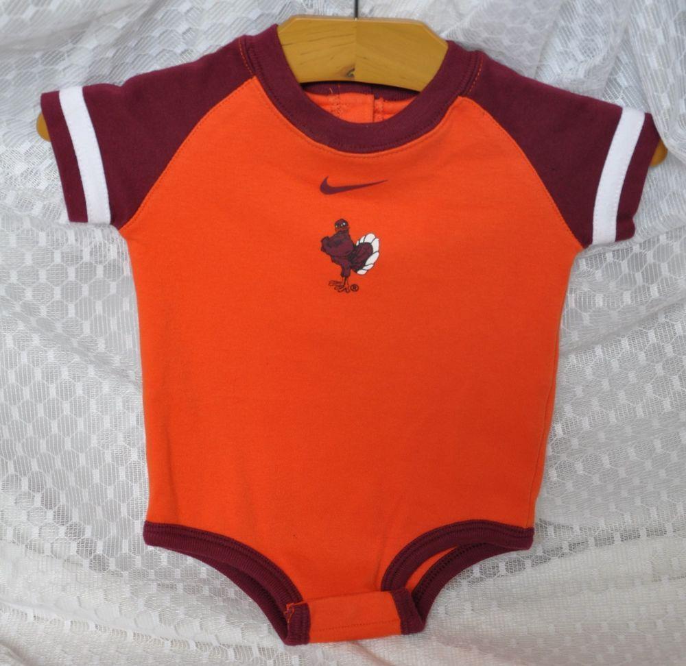 Nike Virginia Tech Baby Boy One Piece Size 3 6m Vt Mascot Hokiebird