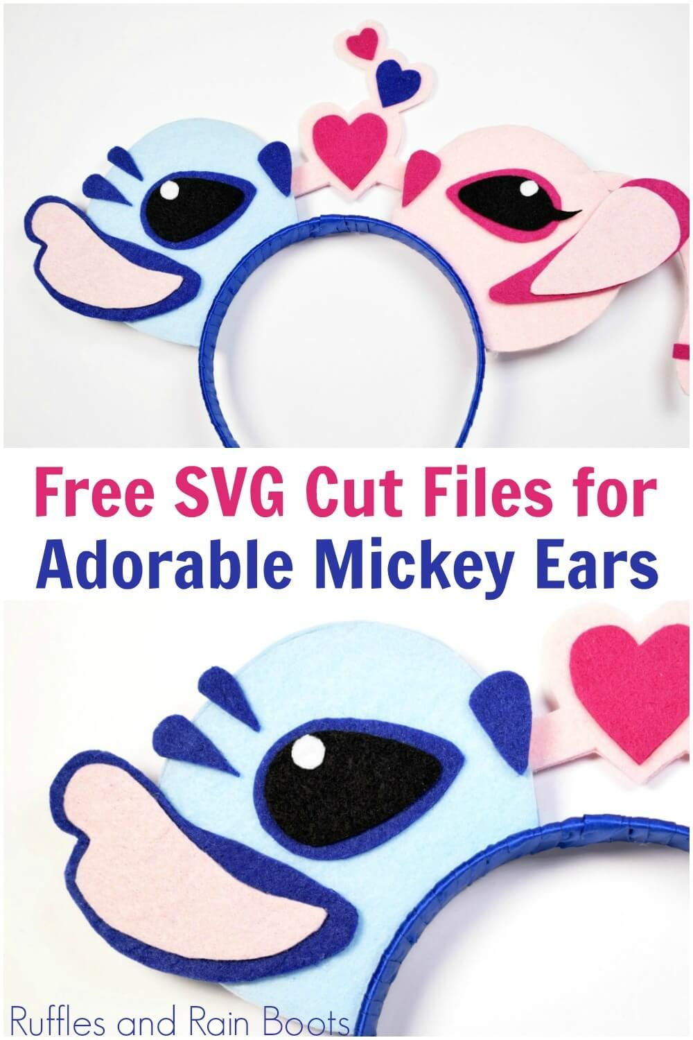 Angel and Stitch SVG for Mickey Ears, Ornaments, or Crafts