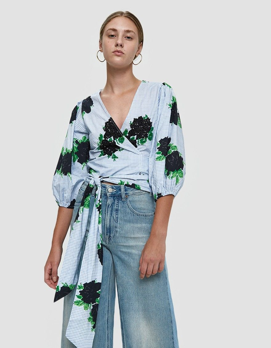 037dd65a0a197 GANNI   Pine Sequined Wrap Top in 2019