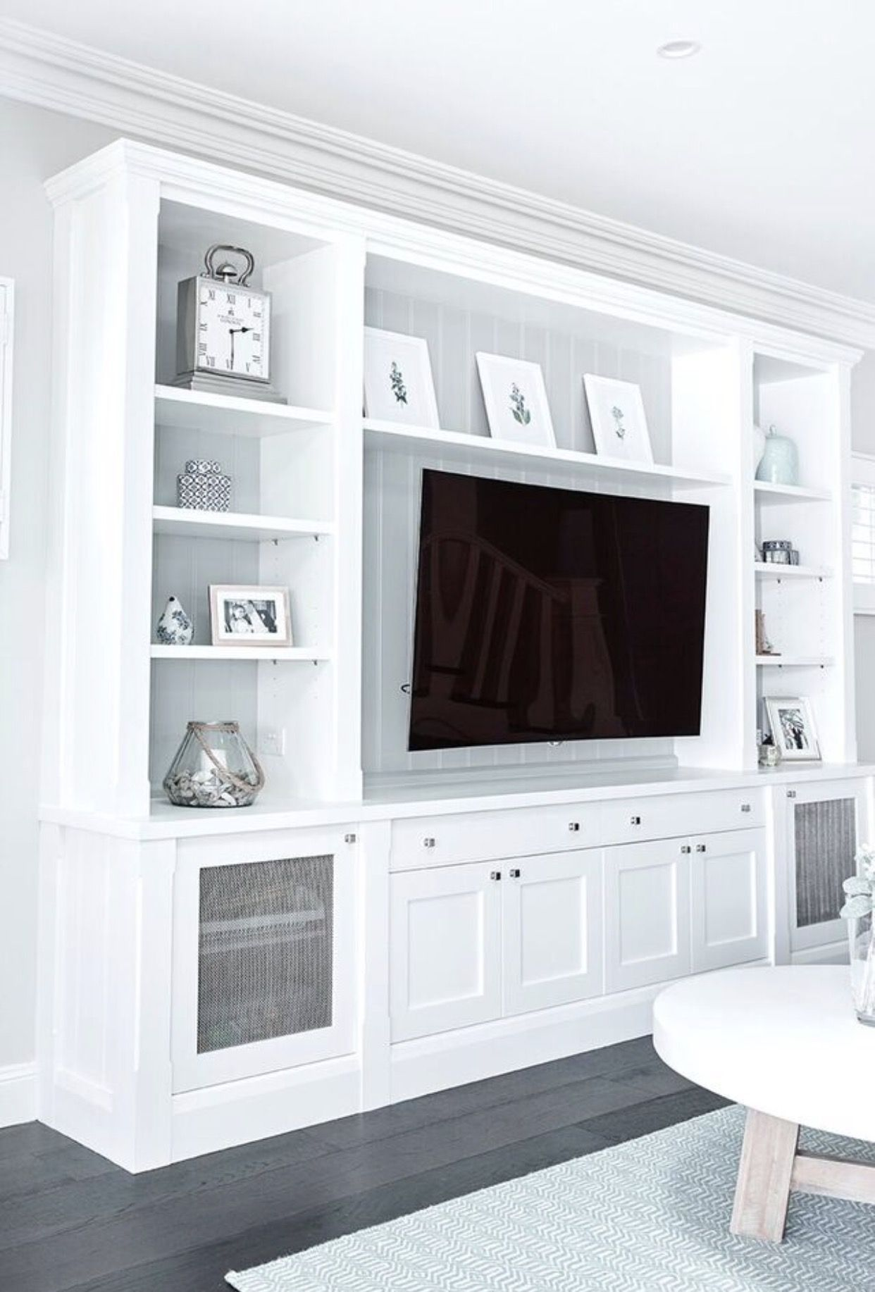 Our Custom Family Room Tv Cabinet Thanks To Provincial Kitchens Clovelly Cape Cod Home Living Room Built Ins Living Room Tv Wall Living Room Entertainment