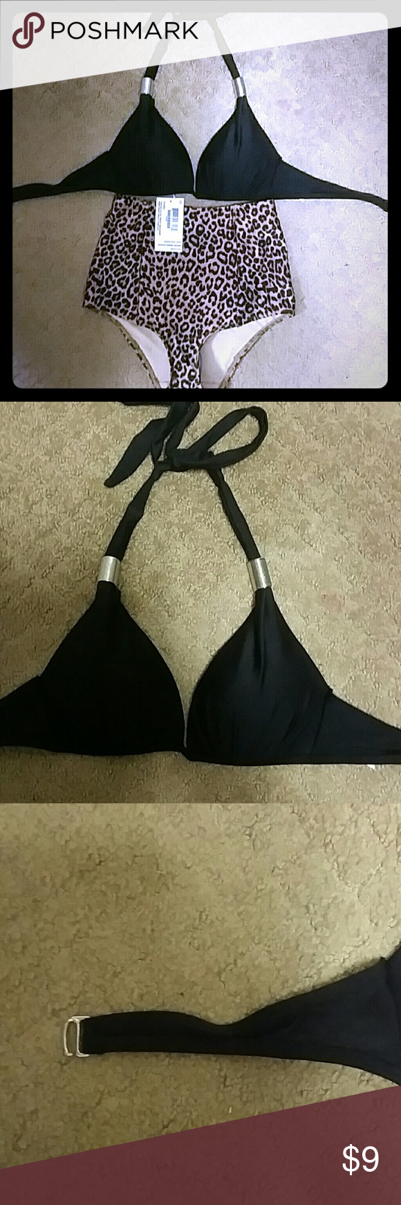 Black bikini top Worn once in Miami. Very cute Frederick's of Hollywood Swim Bikinis