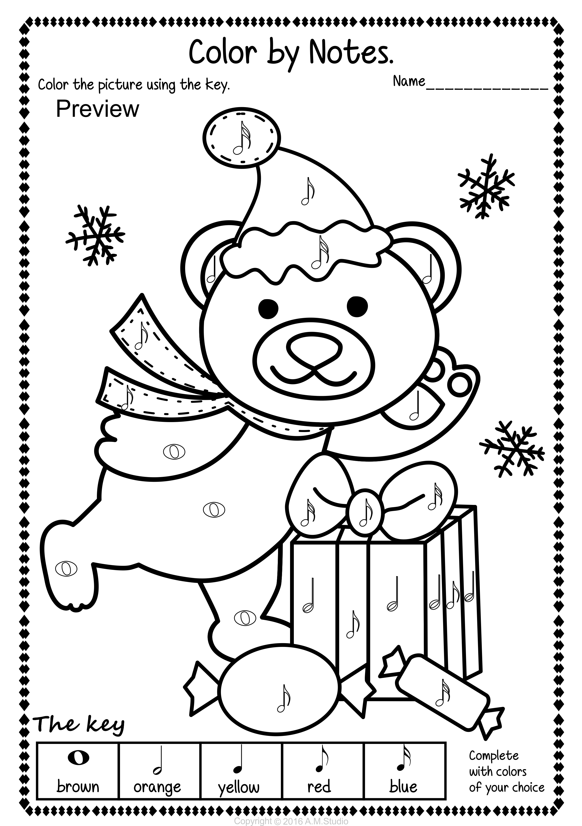 Christmas Color by Music Pack Christmas coloring pages