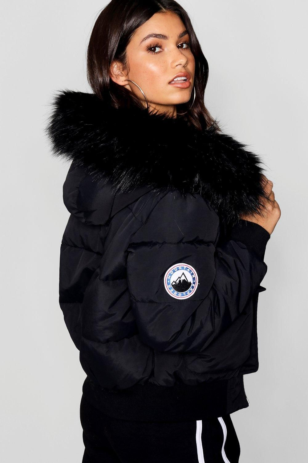 Black Faux Fur Hood Crop Puffer boohoo in 2020 Puffer