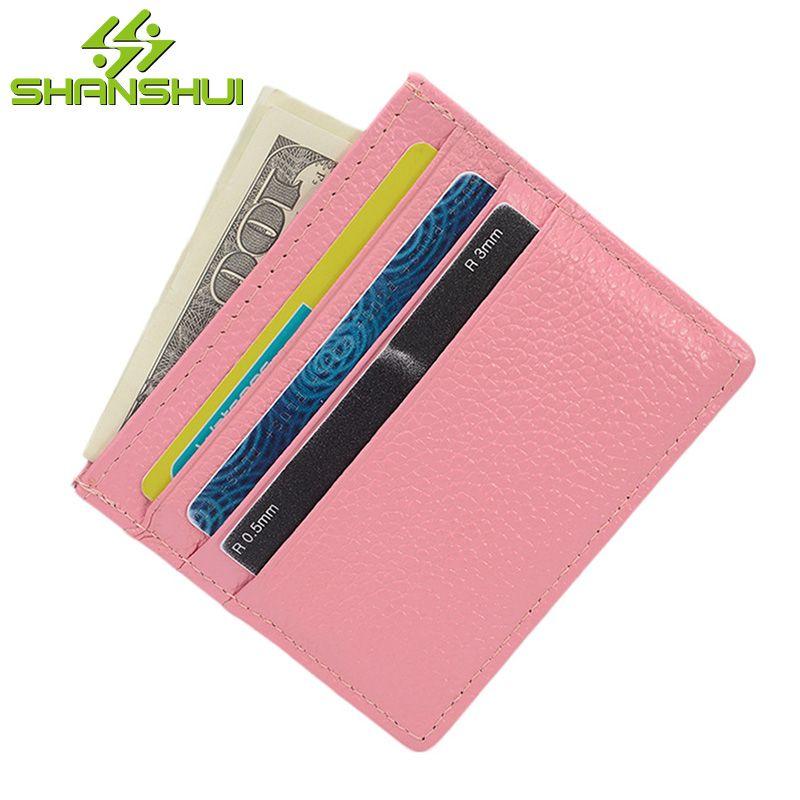 2017 Women Men Genuine Leather Super Thin ID Credit Card Holder Mini ...