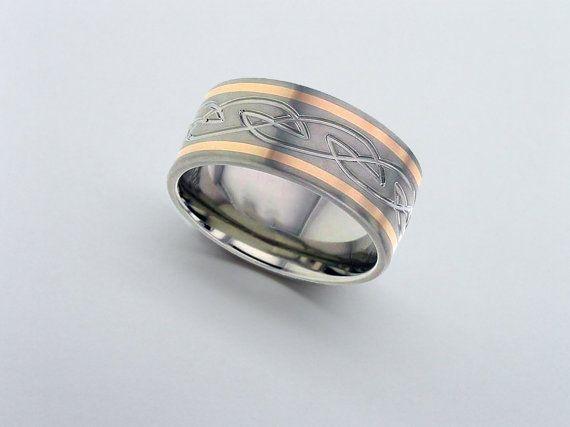 Rose Gold Inlaid Titanium Wedding Ring Titanium Wedding Rings