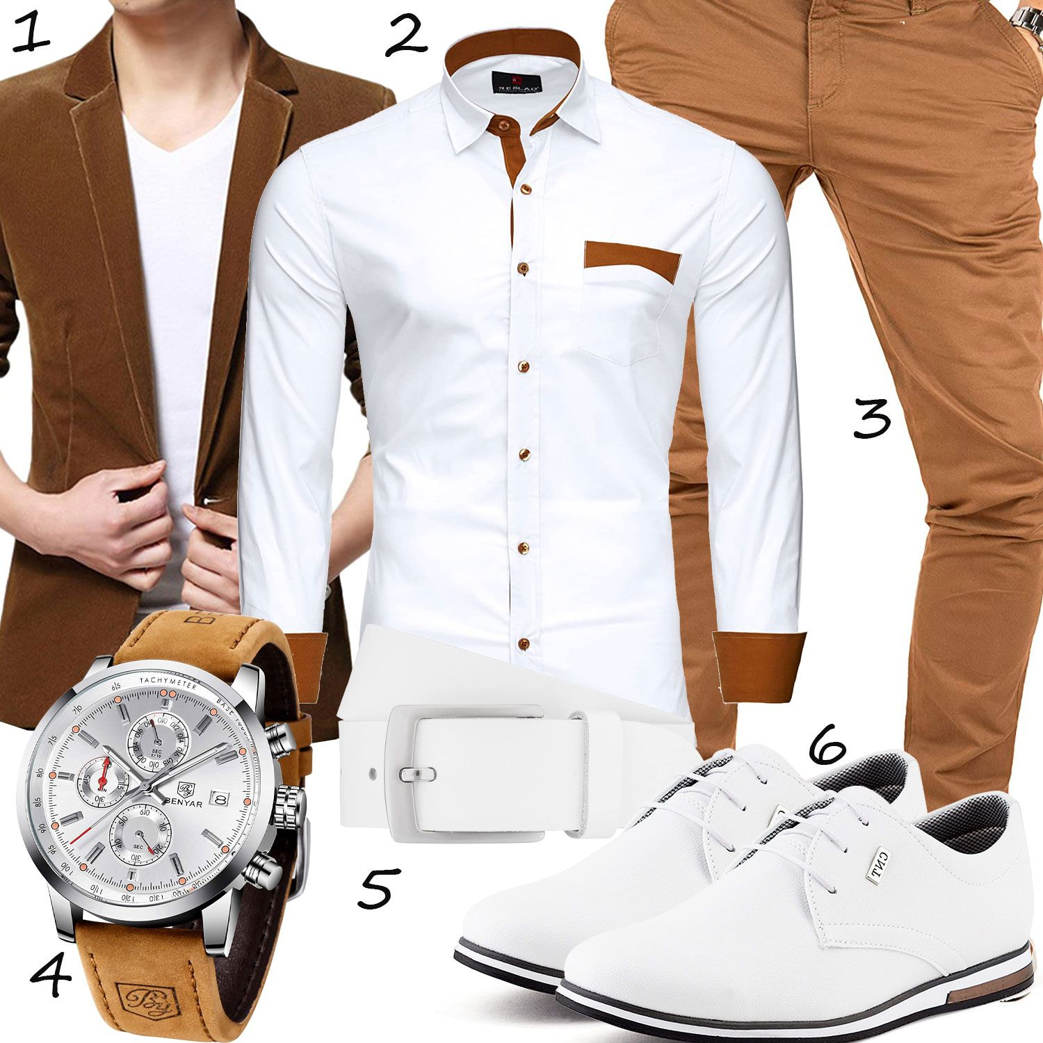 eleganter herren-style in weiß und hellbraun - outfits4you