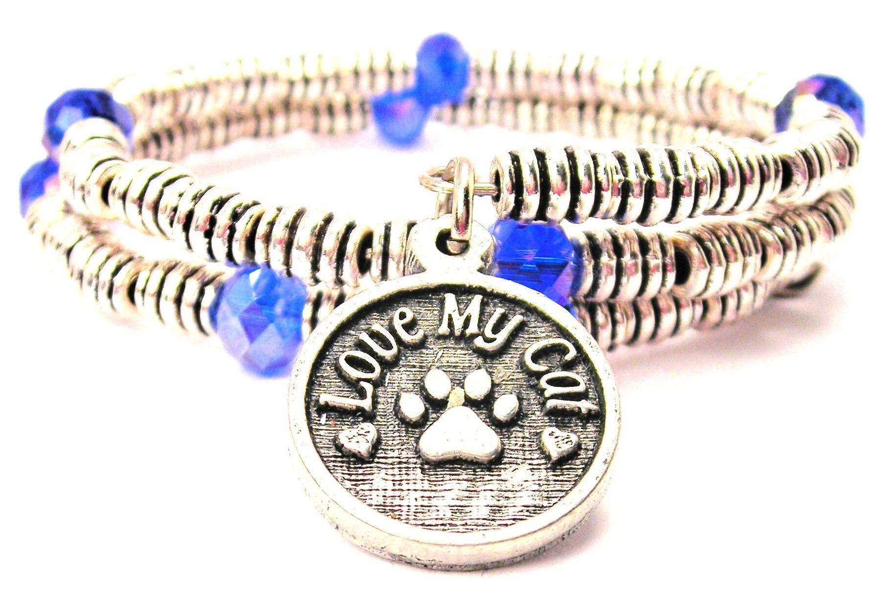 Love My Cat Curly Coil Wrap Style Bangle Bracelet