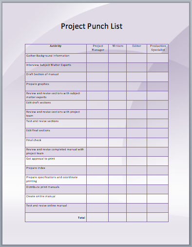 Project Punch List Template  Ms    Template