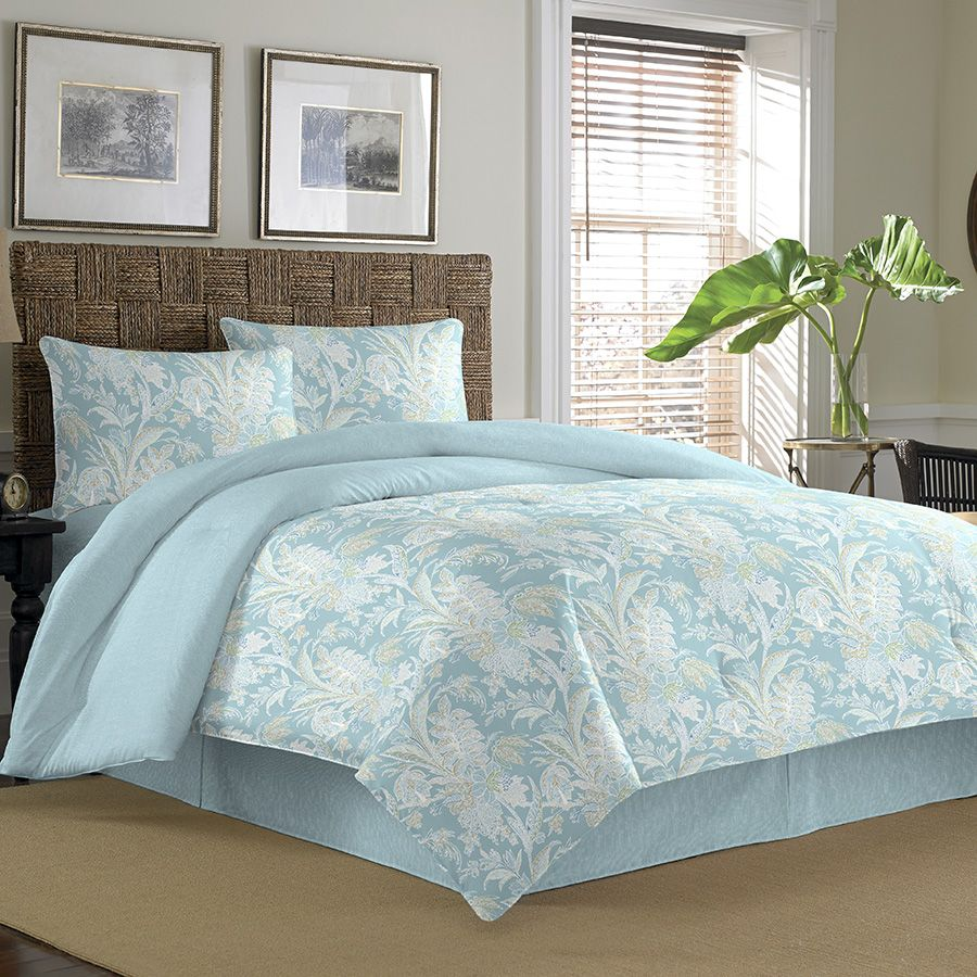 Tommy Bahama Tiki Bay Silver Blue Cotton Comforter Set   Overstock™  Shopping   Great Deals On Tommy Bahama Comforter Sets