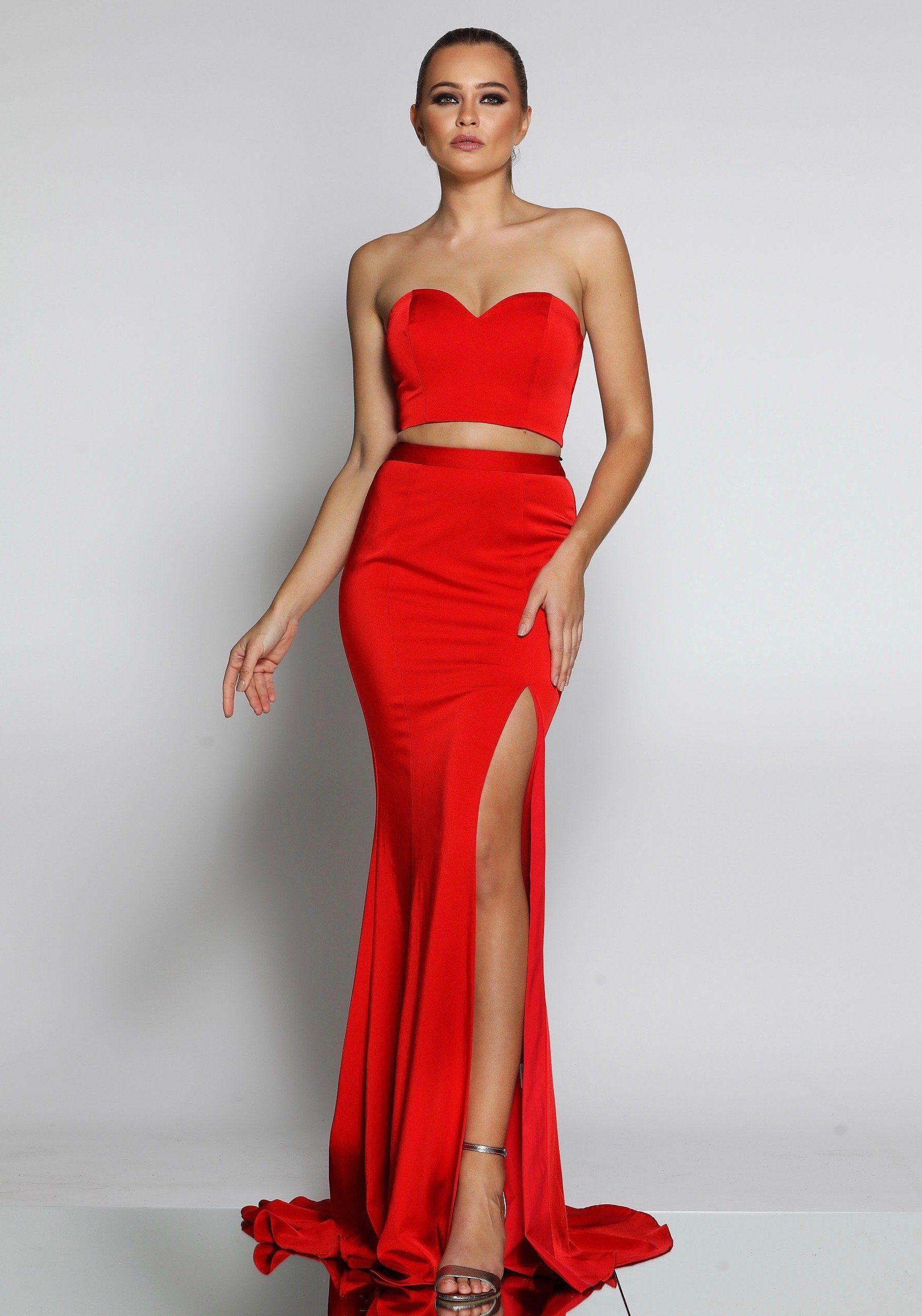 Jadore jx1001 red two piece mermaid split formal set red