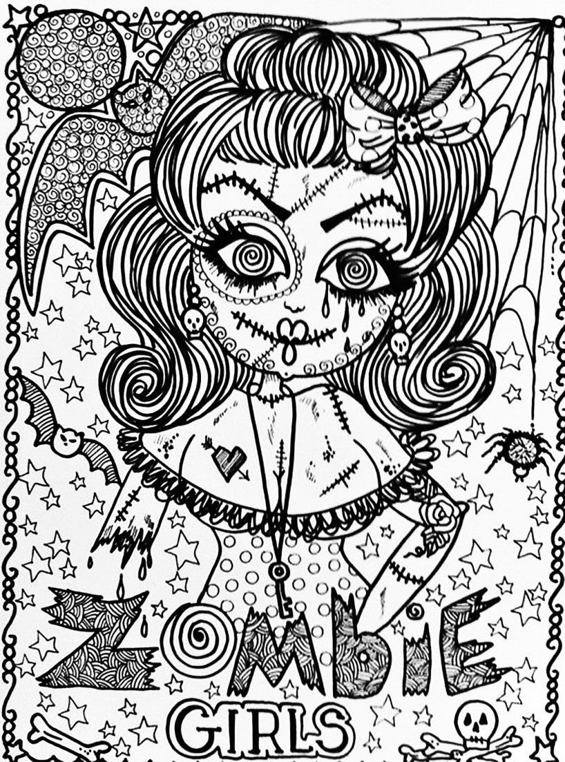 Hard Halloween Coloring Pages For Adults Halloween Coloring Pages Disney Coloring Pages Coloring Pages For Girls