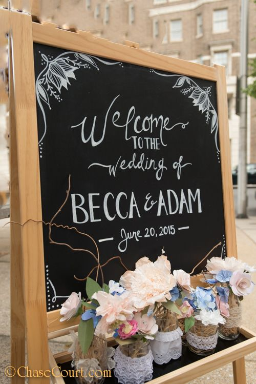 Chalkboard Wedding Easel Sign Chase Court Baltimore Catering