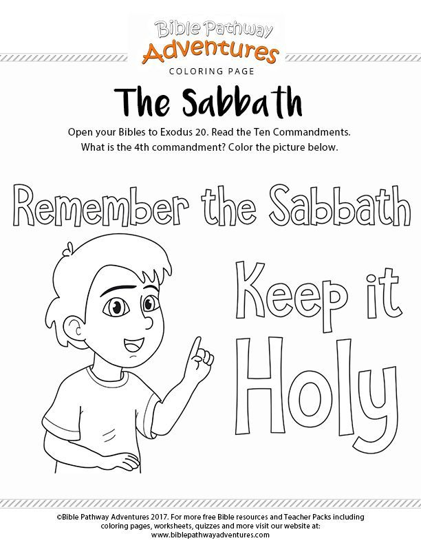 The Sabbath Bible coloring page for kids | Kids Page \'n More ...