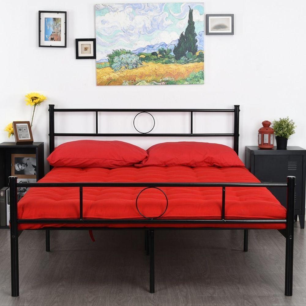 Full Size Stable Metal Bed Frame Mattress Platform No Box