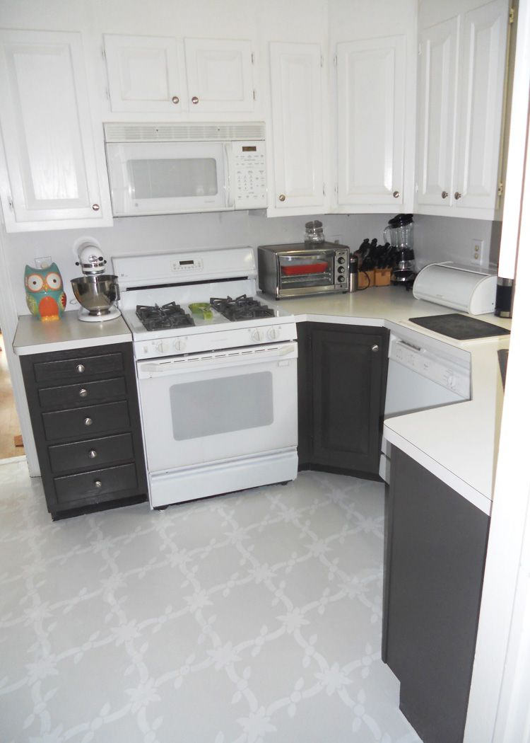 Finally painted my kitchen floor! The floor color and pattern make ...