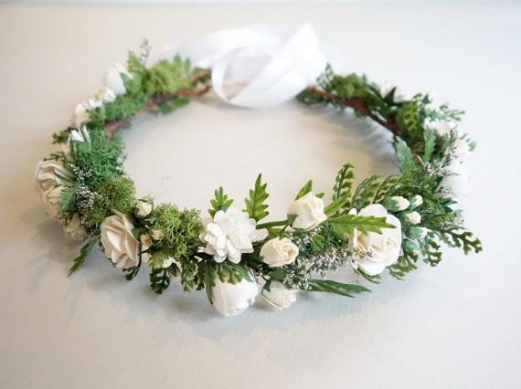 White Flower Crown, Fern Crown, Flower Crown, Boho Hairpiece, Woodland Wedding, Bridal Crown, Moss Head Wreath, Forest Wedding, SERENITY