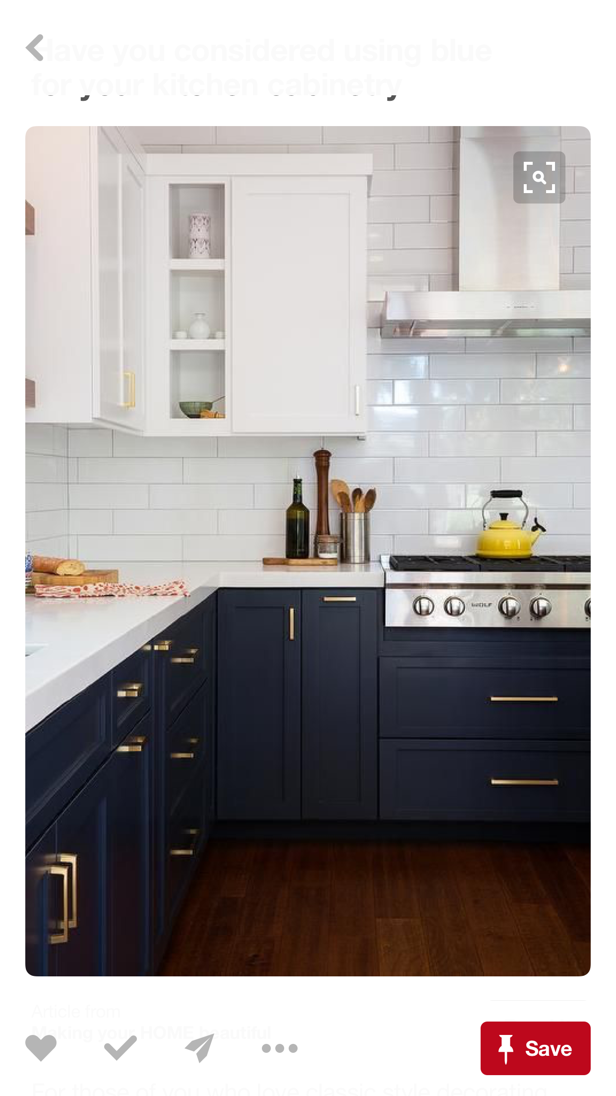 Navy cabinets on bottom and white cabinets up top home in