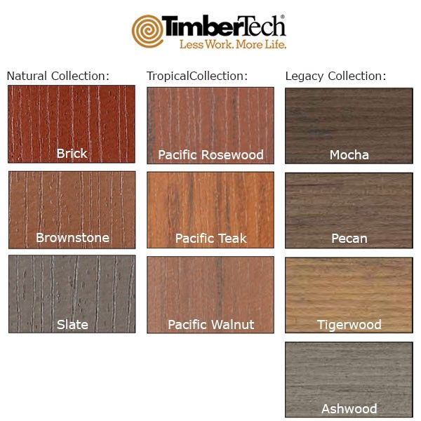 Cortex concealed fastening system by timbertech for Composite wood colors