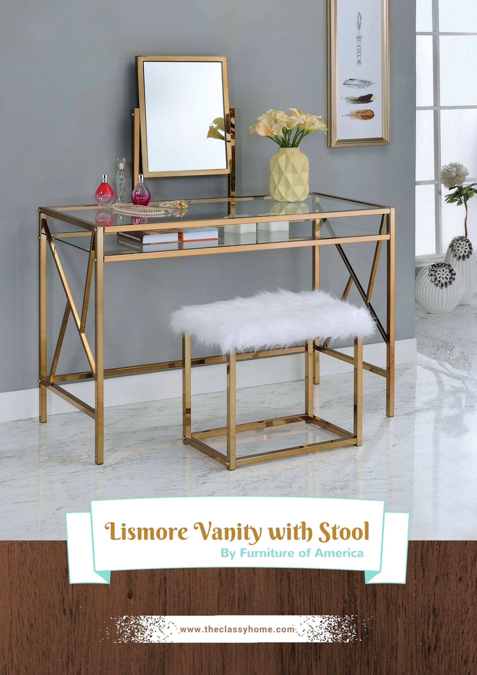 Furniture of America Lismore Champagne Vanity with Stool ...