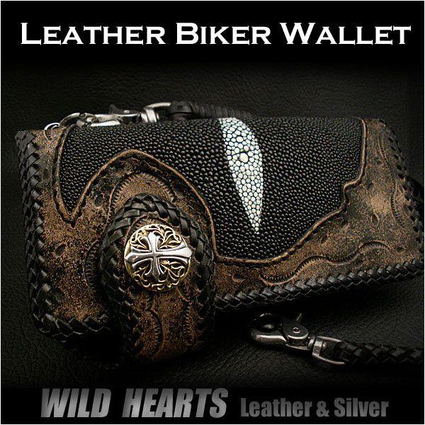 Stingray Biker wallet Carved wallet Cowhide Handcrafted Custom HandmadeWILD HEARTS Leather&Silver  http://item.rakuten.co.jp/auc-wildhearts/lw0868/