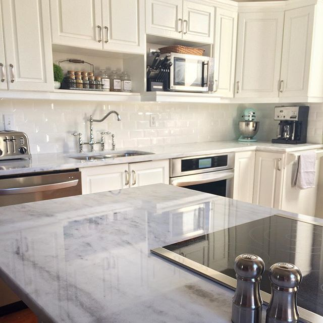 Great Countertops Are Finally Done! White Shadow Storm #quartzite #countertops
